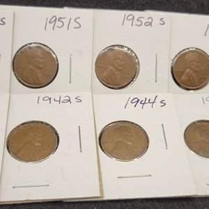 Lot 49 - Ten Lincoln Wheat Cents, 1940-S - 1953-S, no duplicates