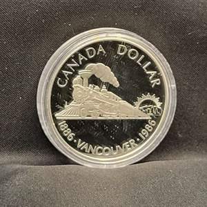 Lot 66 - 1886-1986 PROOF SILVER Canadian Dollar, Vancouver, Transcontinental Railroad.