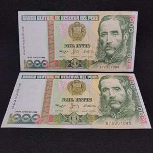 Lot 68 - Two Vintage UNC 1000 Intis Bank of Peru Currency Notes, consecutive numbers.