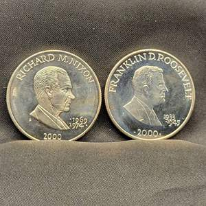 Lot 69 - Two $5 Republic of Liberia Presidential Dollars, Nixon and Roosevelt