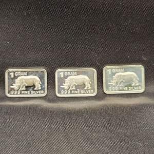 Lot 75 - Three Troy Grams .999 Fine Silver Bars, Rhinos