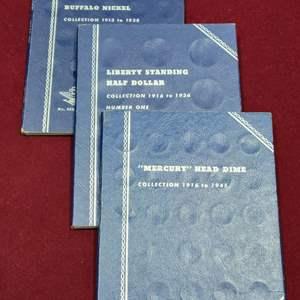 Lot 95 - Three Vintage Whitman Coin Folders, No. 9008:35 for Buffalo Nickels, No. 9014 for Mercury Dimes, No. 9021 Liberty Halfs