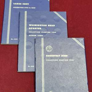 Lot 96 - Three Vintage Whitman Coin Folders, No. 9001, 9040 and 9029 for Large Cents, Washington Quarters and Roosevelt Dimes