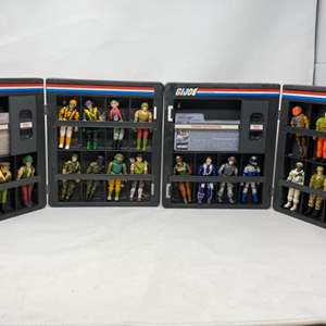 Lot #10 - Two 1982 Hasbro G.I. Joe ARAH Official Collector Display Cases with 24 Vintage G.I. Joe Action Figures