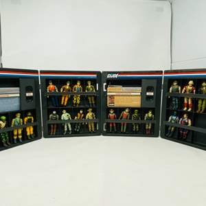 Lot #17 - Hasbro Vintage G.I. Joe Cobra Troopers (20 in all) and Two Vintage G.I. Joe Official Collector Display Cases