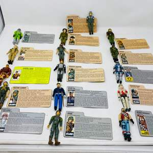 Lot #23 - Vintage G.I. Joe Action Figures with Command File Cards (16 in all) Grand Slam, Falcon, Rock 'n Roll, General Hawk