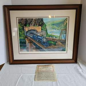 """Lot #32 - """"National Limited at Harper's Ferry"""" Original Collotype Print, Hand Signed and Dated  26x21.5"""