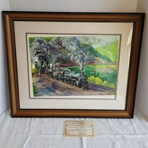 """Lot #33 - """"Double Heading up Horseshoe Curve"""" Original Collotype Print, Hand Signed and Dated. 26x21.5"""