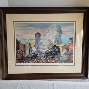"""Lot #35 - """"Eastbound on the 20th Century"""" Original Collotype Print Hand Signed and Date 1982, Measures 26x21.5"""