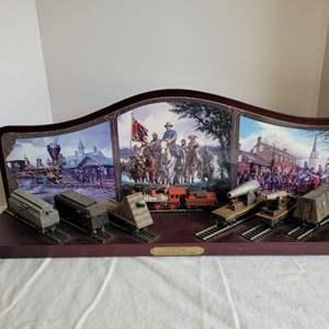 Lot #36 - Hawthorne Village Civil War Armored Train Shelf Display with Bachmann HO Sale Cars