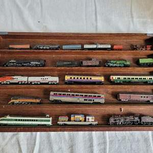 Lot #39 - Wood Display Box Fillled with Metal Locomotives and Train Cars