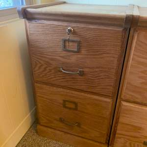 """Lot #41 - Quality Oak Two Drawer File Cabinet with Brass Hardware and Key 16"""" x 17: x 28""""h"""