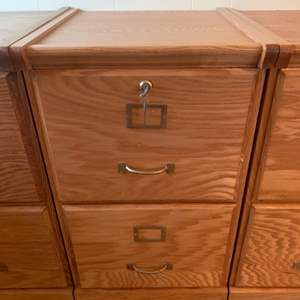 """Lot #42 - Two Drawer Oak File Cabinet with Key 16""""x 17""""x28""""h (Matches Lots #41 & #43)"""