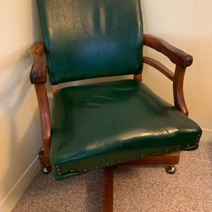 Lot #46 - Quality Vintage Roger James Co. Banker's Chair with Nail Head Trim on Casters