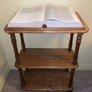 Lot #47 - Quality Book Pedestal Stand with Shelving for Storage and 1976 Webster's Third New International Dictionary