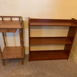 """Lot #48 - Small Wood Side Table 14""""x12""""x 29""""h and Small Bookshelf 28""""x 8""""x 28.5""""h"""