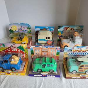 Lot #56 - New in Package Chevron Cars: Autopia, Hap E. Camper, Summer Scoop, Pete Pick-Up and More