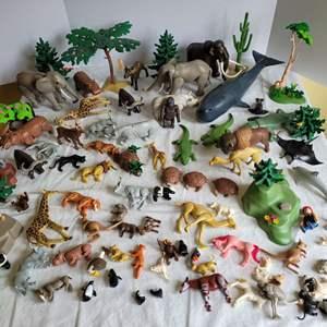 Lot #76 - Huge Lot of Vintage Playmobil Animals, Trees, Sea Life, Zoo Animals