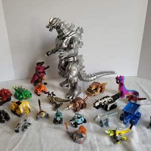 Lot #80 - Toho Mecha Godzilla and Mattel Dinotrux Die-Cast Character Reptools