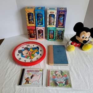 Lot #81 - Disney:  Vintage 1990's Collector Series Cups with Box, 101 Dalmations Bank, Lorus Quartz Clock, Mickey & Vintage Book