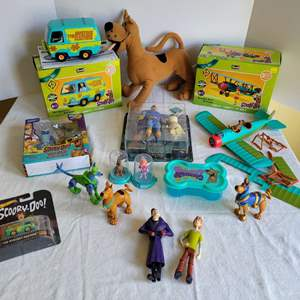 Lot #82 - Scooby Doo!: Figures, Mystery Machine, Airplane and Plush Scooby