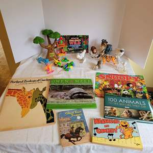 Lot #83 - Rain Forest Cafe Memorabilia, Vintage Snoopy Calendar and Vintage and New Books