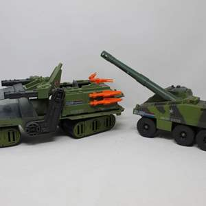 Lot #88 - Vintage Hasbro G.I. Joe H.A.V.O.C. Heavy Articulated Vehicle Ordinance Carrier and  1984 Slugger Military Tank Vehicle
