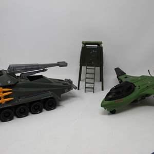 Lot #91 - Vintage Hasbro G.I. Joe 1984 Watchtower, 1987 G.I. Joe Deadeye Vehicle and 1989 G.I. Joe Mud Fighter Vehicle