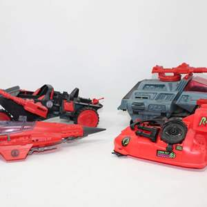 Lot #98 - Vintage Hasbro G.I. Joe Cobra Stellar Stiletto, Cobra Rat DG-3 Hovercraft, Cobra H.I.S.S. & Cobra Stun Vehicle