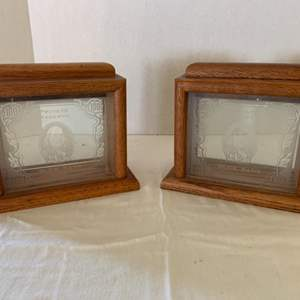 Lot #107 - Two Vintage Ben Franklin Etched Glass and Wood Framed Private Reserve Buck Bank