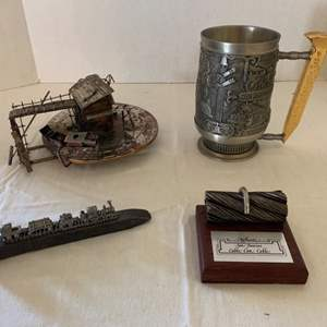 Lot #108 - 1988 Franklin Mint Railroad Museum Tankard, Authentic San Francisco Cable Car Cable, Railroad Spike & Music Box