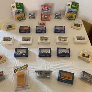 Lot #114 - Large Collection of NIB Miniature Cars John Deer, Praline, Mini Metals, Trident, Auto Scenes