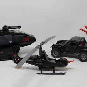 Lot #131 - Vintage G.I. Joe Fang 76X3-6 Helicopter, Cobra Stinger Jeep and Cobra H.I.S.S. Tank