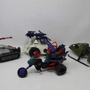 Lot #136 - Hasbro G.I. Joe Vehicles: 1993 Ice Snake, 1984 Cobra Skyhawk, 2010 Cobra Ice Cutter & 1987 Dreadnok Cycle