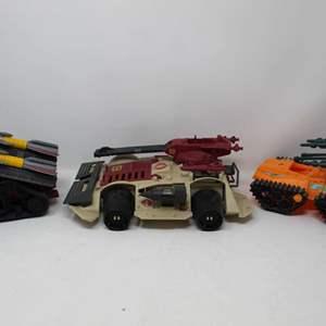 Lot #137 - G.I. Joe Vehicles: Cobra Fury Attack 2010, Cobra I.M.P. 1988 and 1991 Sonic Boom Tank Street Fighter