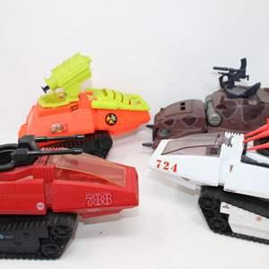 Lot #138 - G.I. Joe Vintage: Tank, Artic H.I.S.S. Tank, 1985 Cobra SMS Sentry Tank and 1985 Cobra Septic Tank