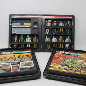 Lot #168 - Three Vintage G.I. Joe Collector Display Cases with 12 Figures and Cards