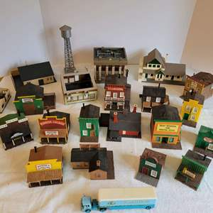 Lot #176 - Very Detailed Buildings and Structures for Model Railway Setup: Some Made in Denmark: Bank, Hotel, Barbershop & More