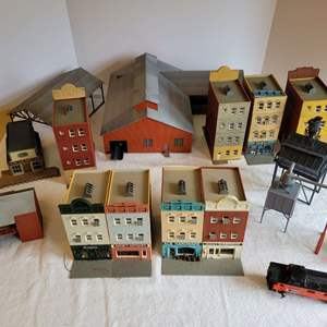 Lot #177 - Hobby Railroad Town Structures by Walthers & Pola:  Barbershop, Ace Hardware, Antiques, Grocery & More