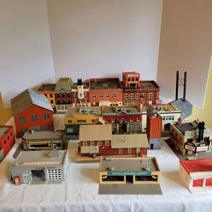 Lot #179 - Selection of Hobby Train Town Buildings: Body Shop, Drug Store, Movie Theater, Dentist and More