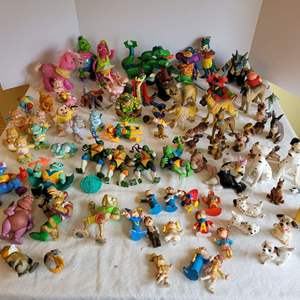 Lot #180 - Collectibles: Vintage Alvin & the Chipmunks, Japan Dalmation Ceramic Dogs, Rubber Dogs, Ninja Turtles, Care Bears