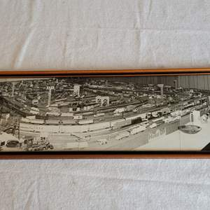 Lot #182 - Vintage Framed Panoramic Black & White Photo of Train Master and Large Train Board Full