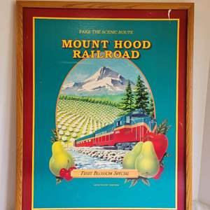 Lot #183 - Framed Mt. Hood Railroad Fruit Blossom Special Poster, No Glass