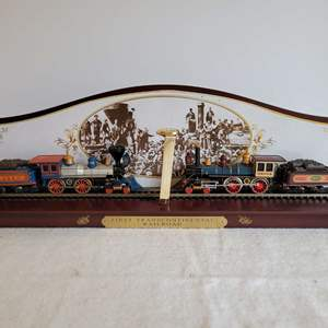 """Lot #184 - Hawthorne Village """"The Golden Spike Commenortive Display"""" Numbered and Two Bachmann Trains"""