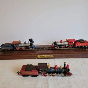 """Lot #185 - """"Wedding of the Rails"""" Mounted Bachmann Trains Display"""