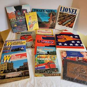 Lot #187 - Copper Sheet Folsom Prison Railroad Etching, Vintage Kid's Books, Tyco, Lionel, Walthers Catalogs and Books