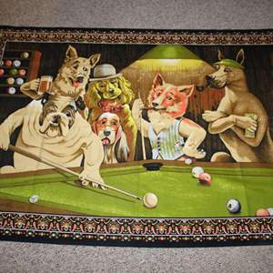 Lot #201 - Vintage Dogs Playing Pool Tapestry Wall Hanging/Rug 57x40