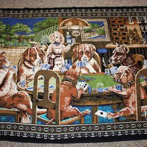 Lot #202 - Vintage Saloon Dogs Playing Poker Wall Hanging/Tapestry Rug, from ATC New York, 57x38