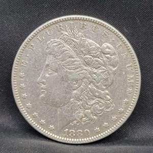 Lot 1 - 1880 AU Morgan Silver Dollar