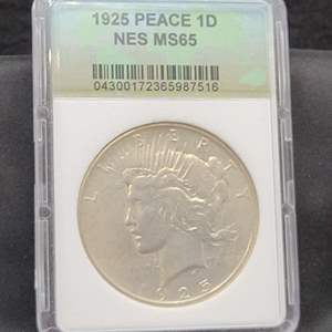 Lot 7 - 1925 Peace Silver Dollar, NES MS65 Encapsulated
